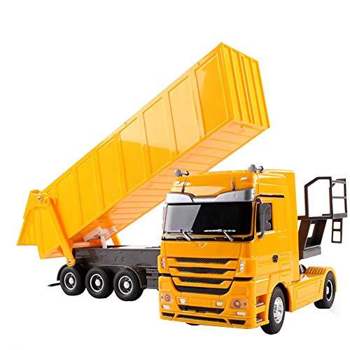 Rc Ferngesteuerter Traktor Spielzeug Mit Anhänger - 6 Kanal 1: 32 Simulationsfahrzeug 45° Anheben Geburtstagsgeschenk Für Kinder