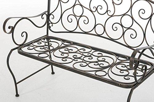 CLP Metall Gartenbank TUAN, 2-er Sitz-Bank Garten, Eisen lackiert, Design nostalgisch antik, 105 x 50 cm Bronze - 7