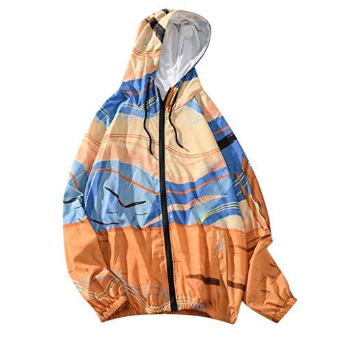 Xmiral Mantel mit Kapuze Herren Drucken Langärmeliges Reißverschluss Sweatshirt mit Tunnelzug Tasche Herbst Outdoor Streetwear Pullover(e Gelb,L) (Wwe-edge-t-shirt Für Männer)