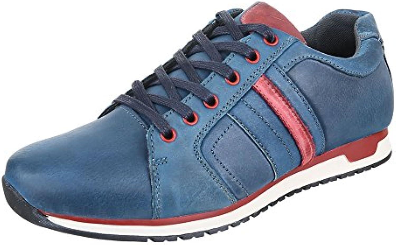 Ital Design Turnschuhe Herren Leder Schuhe Low Top Sneakers Schnürsenkel Sneaker