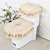 WANG-shunlida Four seasons cushion ring general toilet zipper seat cover toilet sleeve three pieces,Sakura Yumi