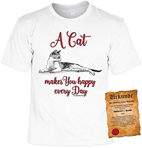 T-Shirt mit süßem Katzen Motiv: A Cat makes you happy every Day - Geschenk für Tierliebhaber - weiss Weiß