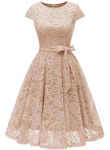 MuaDress MUA6008 Brautjungfernkleid aus Spitzen Knielang Damen Cocktailkleid Weiß XL