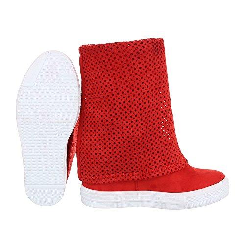 Keilstiefeletten Damenschuhe Plateau Keilabsatz/ Wedge Keilabsatz Ital-Design Stiefeletten Rot