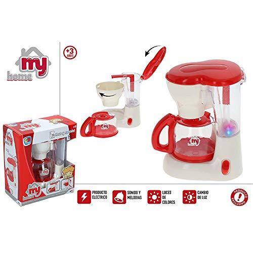 Hogar y Mas Cafetera Electrico de Juguete para Niños de Color Rojo, con Sonidos y Luces de Colores. Original/Moderno 170X95X205 mm.