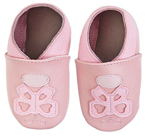 SmileBaby Premium Leder Lauflernschuhe Krabbelschuhe Babyschuhe mit verschiedenen Motiven Rosa Schmetterling