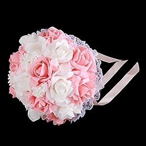 leoboone Boda romántica Novia Ramo Artificial Rosa Mano Ramo Estilo Coreano Simulación Sostener Flor Suministros de Boda…
