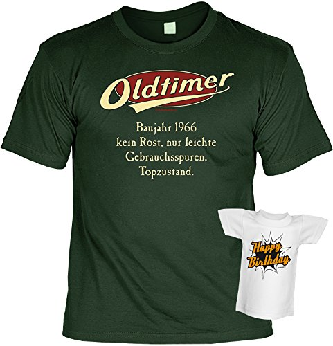Fun T-Shirt - Geburtstagsgeschenk - Oldtimer - Baujahr 1966 - Im SET mit Mini T-Shirt - Dunkelgrün Dunkelgrün