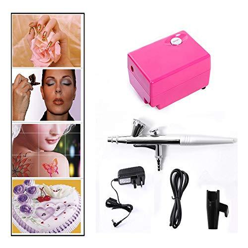Pinkiou Airbrush Make-up-Set mit Mini-Kompressor für Kunst Handwerk Projekte Tattoo (rot)