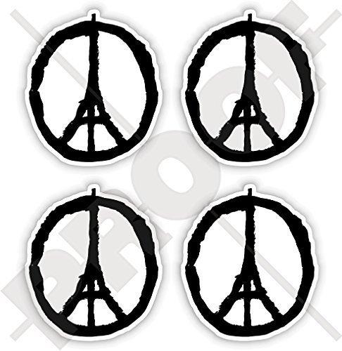 Respekts Des Symbol (FRIEDEN für PARIS Symbol, Eiffelturm Skizze Beten Sie für Frankreich Franzosen 50mm Sympathie Respekt Aufkleber, x4 Vinyl Stickers)