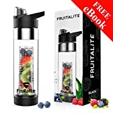 #10: Fruitalite® Fruit Infuser Water Bottle Black – Large 700ml/24oz, Anti-Sweat & Insulating Thermo Sleeve +125 Fruit Infused Detox Water and Rapid Weight Loss Recipes eBook, featuring a UNIQUE BOTTOM INFUSION DESIGN, flip top locking spout, premium quality smart leak proof tritan BPA free plastic - 100% Eco-friendly design, sports sipper bottles, every sip with vitamin, protein shaker