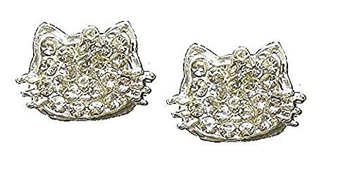 Kristall mit Silber Ton Katze Kätzchen Ohrringe für Frauen Mädchen Fancy Party Kleid Fashion