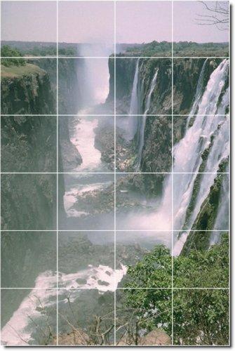 CASCADAS FOTO PARA AZULEJOS MURAL 17  24X 36PULGADAS CON (24) 6X 6AZULEJOS DE CERAMICA