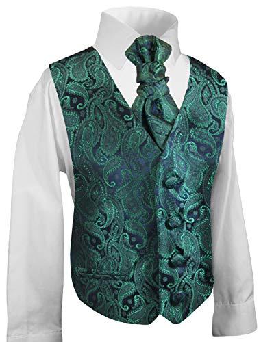 Festliche Kinder Anzug Weste für Jungs 3tlg smaragd grün Paisley + Hemd + Plastron I Hochzeit Kommunion 188 (18 Jahre)