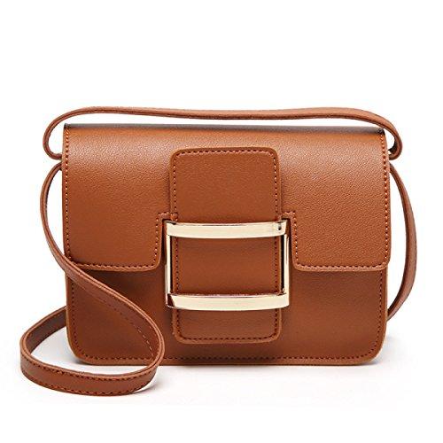 Borsa A Tracolla In Pelle Diagonale Piccolo Borsa Quadrata Mini Donna,Brown Brown