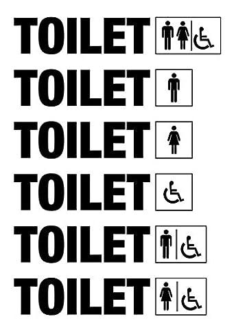 Série complète WC Decal bain Toilet Homme Femme handicap H. 4cm–Restaurant Bar bureau autocollants