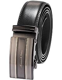 KS - KB055 - Ceinture Homme - Cuir Noir - Boucle Acier - Longueur: 120 cm (47,2 pouces)