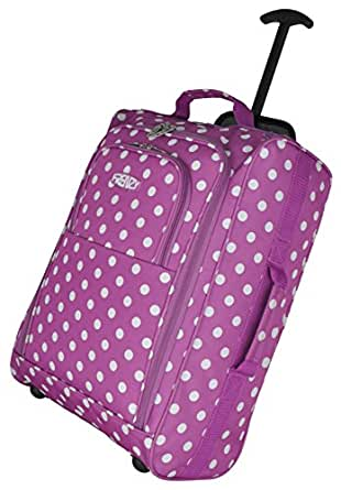 Frenzy/5Cities Lightweight Hand Luggage Bag - Approved Ryanair 2 Wheeled Cabin Baggage. 42L Travel Suitcase Holdall Includes Padlock! (Purple Polka Dot)