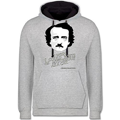 Statement Shirts - Edgar Allan Poe - I wish I could write as mysterious as a cat - Kontrast Hoodie Grau meliert/Dunkelblau