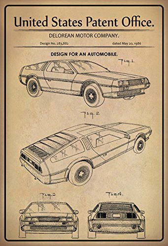 US Patente - Design for An Automobile - Entwurf für EIN Kraftfahrzeug - Delorean Motor Company, 1986 - Design No 283.882 - Schild aus Blech, Metal Sign, tin