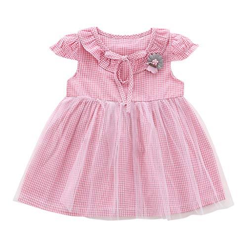 LEXUPE Säuglingsbaby-Fliegen-Hülsen-Plaid-Druck-Blumen-Bogen Tulle Prinzessin Dress(Rosa,100/12/XL)