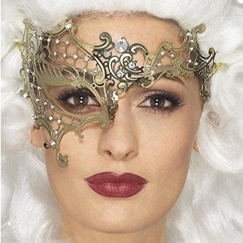 Amakando Filigree Augenmaske - Gold - Venedigmaske für Maskenball Barock Maskerade Metall Halbmaske Venedig Ballmaske Venezianische ()