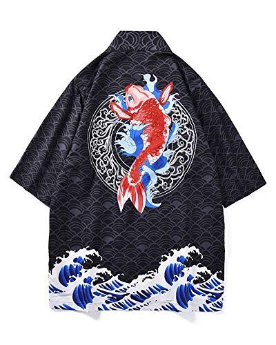 Preisvergleich Produktbild Shaoyao Herren Lose Japanische Kimono Cardigan Mäntel 3 / 4 Ärmel Gedruckt Strandhemd Wie Bild 2XL