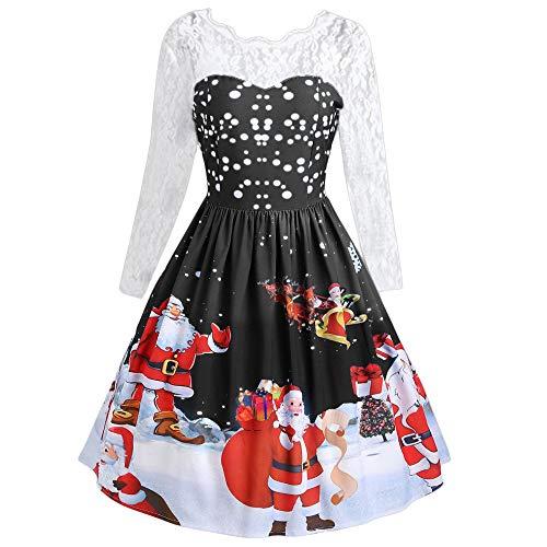 Frauen Elegant Weihnachten Gedruckt Spitze Patchwork Kleider Damen Jahrgang O-Ausschnitt Hohe Taille Langarm Party Kleid