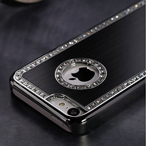 Quality Luxury Bling Diamond Crystal Hard Glitter Case Cover Shell (Black) for iPhone 5C by TB1 Products ® Black Crystal Case Cover