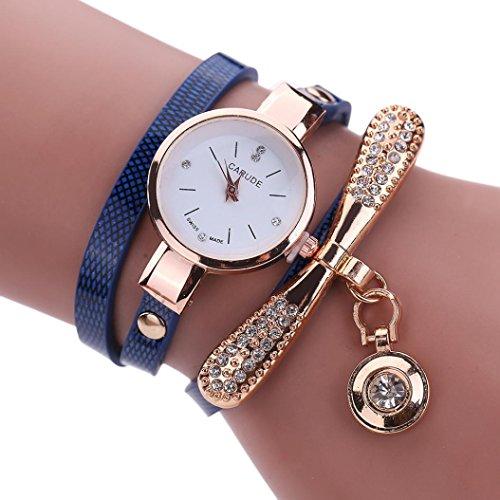 Strass Analog Quarz Uhr Damen, DoraMe Frauen PU Leder Armbanduhren Diamant Anhänger 2018 Uhren Neue Luxus Klassische Watch (Dunkelblau) Diamant-runder Anhänger
