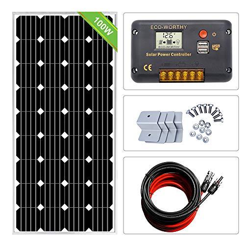 Ecoworthy 12volt 100watt solare monocristallino starter kit: pezzo 100w pannello solare mono + 15a pwm solar controller + 9,1m solare pv cavo con connettori mc4+ z staffe di montaggio