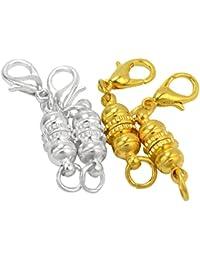 4x Fermoir Argenté +Doré Rond Grain Magnétique pour Bracelet Collier Chaîne