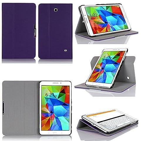 Samsung Galaxy Tab 4 7.0 - Housse violette protection UltimKaz Cuir Style (Wifi/3G/LTE/4G) SM-T230 - Etui coque violet XEPTIO tablette tactile Galaxy Tab 4 7 pouces - Accessoires pochette cover XEPTIO case