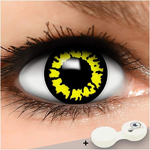 FUNZERA Farbige Kontaktlinsen Yellow Wolf, in gelb inklusive Kontaktlinsenbehälter, 1 Paar Linsen (2 Stück)