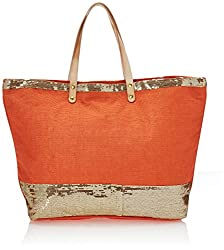 2Chic Orange Jute Tote Bag W/Sequin Detail