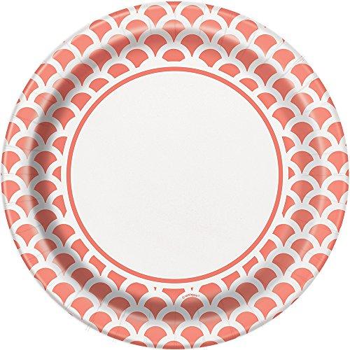 Unique Party Paquete de 8 platos de papel con diseño de concha Color rosa coral 23 cm 37215