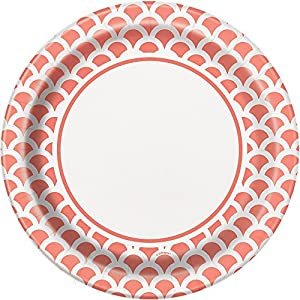 Unique Party Paquete de 8 platos de papel con diseño de concha Color rosa coral 23 cm 37215