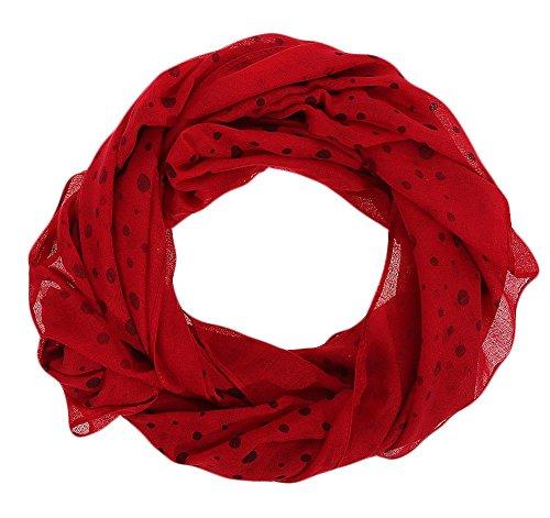 malito Damen Halstuch mit verschiedenen Prints   Schal mit Seidenanteil - Loop - Tuch - Schlauchschal JY009 (rot 10WJ)