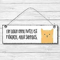 Ein Leben ohne Katze - Dekoschild Türschild Wandschild aus Holz 10x30cm - Holzdeko Holzbild Deko Schild zur Dekoration Zuhause im Büro auch perfekt als Geschenk Mitbringsel zum Geburtstag Hochzeit Weihnachten für Familie Freundin Mutter Schwester Tochter