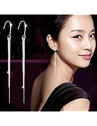 VANKER 1 par elegante para mujer de plata larga de la borla cuelga los pendientes del gancho del oído de la gota de la joyería