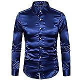 Vovotrade® Brillante Pintura de Aceite Super Estrella Camisa, Personalidad de los Hombres Casual Delgado Manga Larga Camiseta Blusa Disfraz (S, Dark Blue)