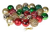 Christmas Ornaments Vielzahl Set | Gold, Grün, Rot Weihnachten Decor Thema | Glitzer, Glanz, und Spiegel Kugel Texturen bruchfestem Kunststoff | 60mm rund Ornaments | 24Stück