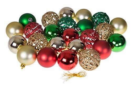 Christmas Ornaments Vielzahl Set   Gold, Grün, Rot Weihnachten Decor Thema   Glitzer, Glanz, und Spiegel Kugel Texturen bruchfestem Kunststoff   60mm rund Ornaments   24Stück