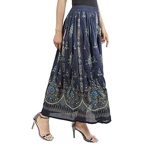 Classic Wear Indian Womens Party Costume Sequins Ankel Length Tail Skirt Rayon Skirt Indian Hippie Gypsy Jupe Retro Boho Falda Women Ethnic Free Size - Grey