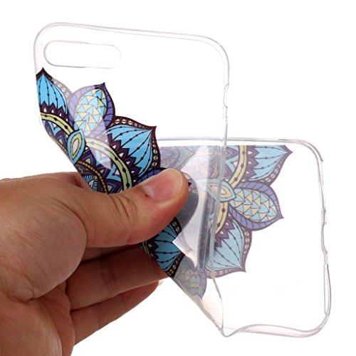 Custodia per iPhone 8 Plus, Custodia per iPhone 7 Plus ,JIENI Trasparente Protezione Morbido Art Datura fiori TPU Bumper Cover Silicone Flessibile Case per iPhone 8 Plus et iPhone 7 Plus XS75