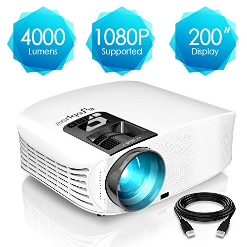 51wpj%2Bxz2cL. SS500  - ELEPHAS Projector, 5000 Lumens HD Video Projector 200'' Home Cinema LCD Movie Projector Full HD 1080p HDMI VGA Av USB Ideal for Home Entertainment Party Games, White