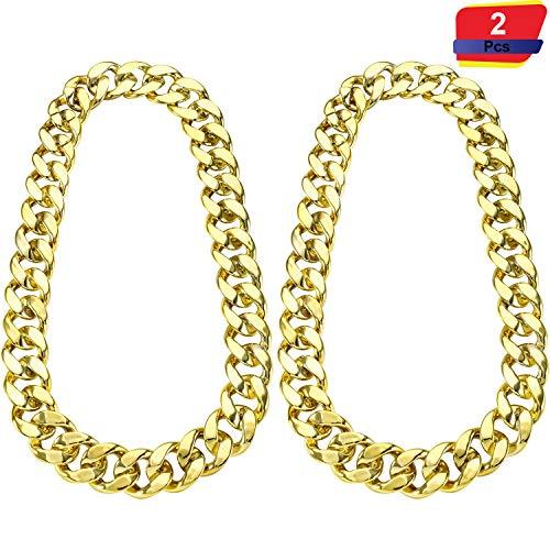 2 Stücke Hip Hop Gold Kette 32 Zoll Große Klobige Kette für Männer, Faux Gold Kette Halskette für Kostüm Schmuck Rapper Punk Stil (Chunky - Punk Star Kostüm