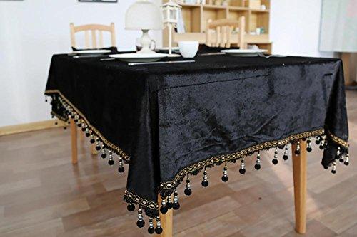 Faser-ergänzung Pillen (Schwarze Quasten Rechteckige Polyesterfaser Tischdecke Handtuch Couchtisch Home Küche Wohnzimmer Dekor Zubehör 5 Größen , 140*180cm)