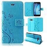 betterfon | Flower Case Handytasche Schutzhülle Blumen Klapptasche Handyhülle Handy Schale für Samsung Galaxy J3 Duos ( 2016 ) SM-J320 Blau