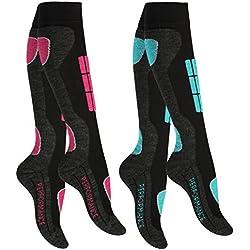 2 pares Calcetines para deportes de invierno con acolchado especial para mujer